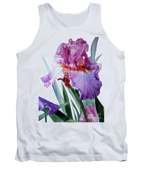 Watercolor Of A Tall Bearded Iris In Pink, Lilac And Red I Call Iris Pavarotti Tank Top