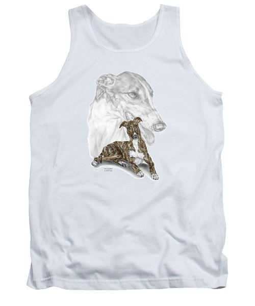 Tank Top featuring the drawing Irresistible - Greyhound Dog Print Color Tinted by Kelli Swan