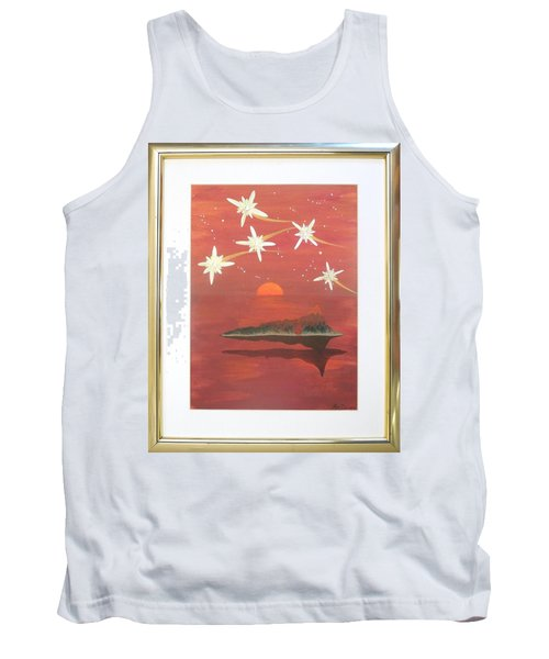 Tank Top featuring the painting Island In The Sky With Diamonds by Ron Davidson