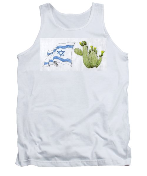 Tank Top featuring the drawing Israel by Annemeet Hasidi- van der Leij