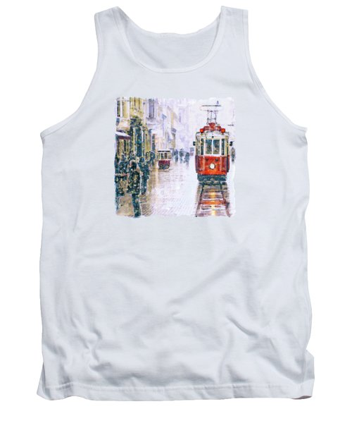 Istanbul Nostalgic Tramway Tank Top by Marian Voicu