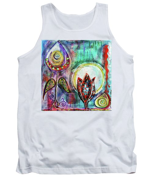 Tank Top featuring the mixed media It's Connected To The Moon by Mimulux patricia no No