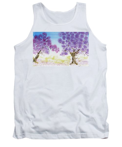 Tank Top featuring the painting Jacaranda Trees Blooming In Buenos Aires, Argentina by Dorothy Darden