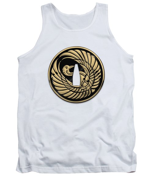 Japanese Katana Tsuba - Golden Crane On Black Steel Over White Leather Tank Top