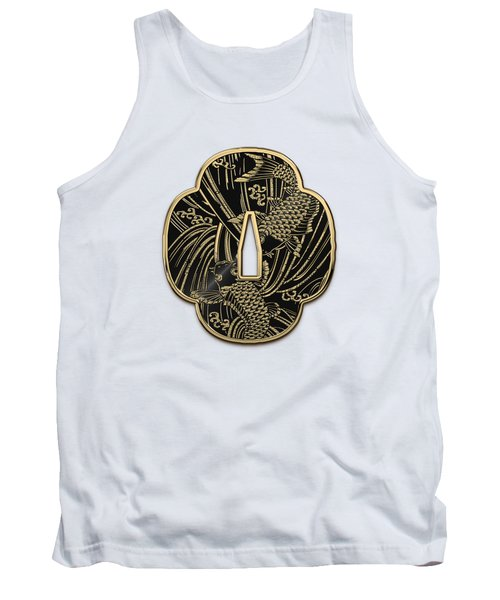 Japanese Katana Tsuba - Golden Twin Koi On Black Steel Over White Leather Tank Top