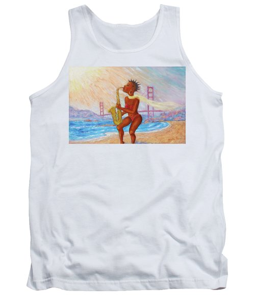 Tank Top featuring the painting Jazz San Francisco by Xueling Zou