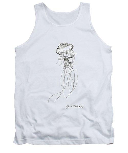 Jellyfish Sketch - Black And White Nautical Theme Decor Tank Top
