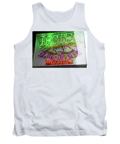 Tank Top featuring the photograph Jester Mardi Gras Sign by Steven Spak