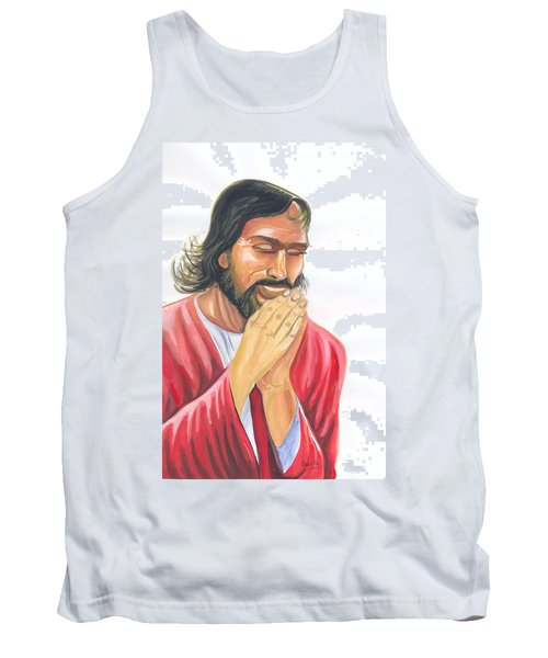 Tank Top featuring the painting Jesus Praying by Emmanuel Baliyanga