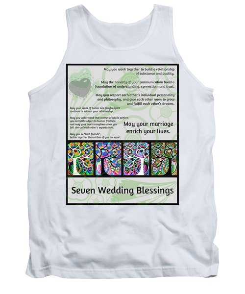 Jewish Seven Wedding Blessings Tree Of Life Hamsas Tank Top by Sandra Silberzweig