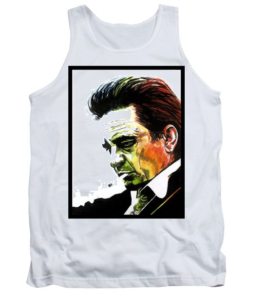 Tank Top featuring the painting Johnny Cash by Joel Tesch