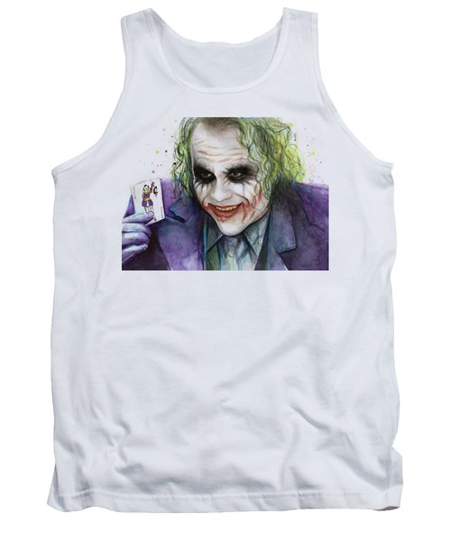 Joker Watercolor Portrait Tank Top