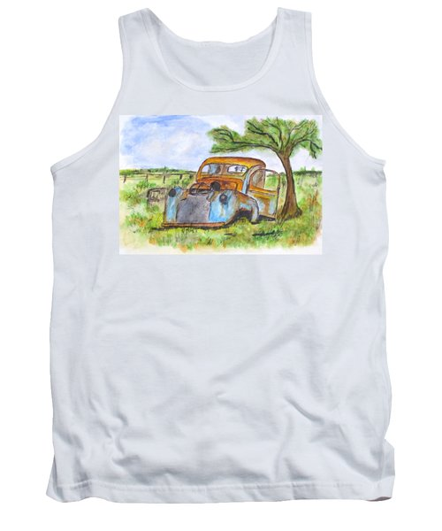 Junk Car And Tree Tank Top by Clyde J Kell