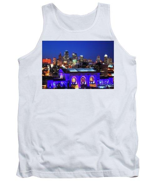 Kansas City Skyline At Night Tank Top