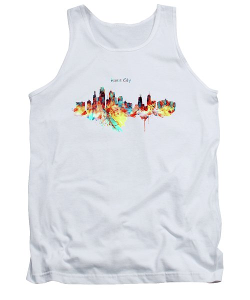 Kansas City Skyline Silhouette Tank Top by Marian Voicu