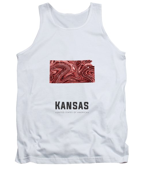 Kansas Map Art Abstract In Deep Red Tank Top