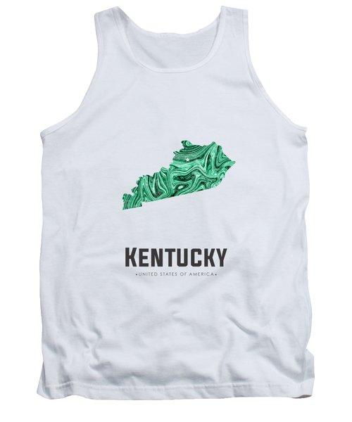 Kentucky Map Art Abstract In Green Tank Top