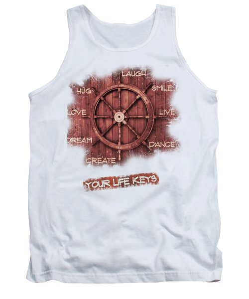 Keys To Happiness Typography On Wooden Helm Tank Top by Georgeta Blanaru
