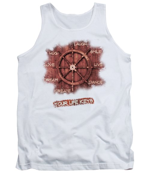 Keys To Happiness Typography On Wooden Helm Tank Top