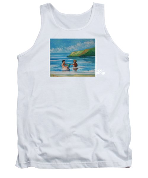 Kids Playing On The Beach Tank Top