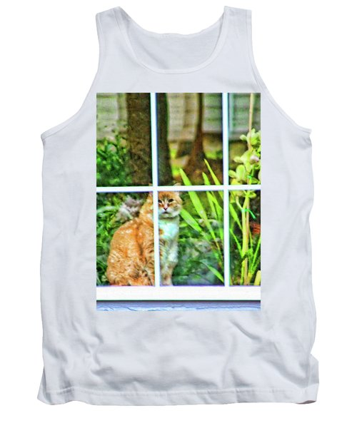 Tank Top featuring the photograph Kitty Reflections by Wendy McKennon