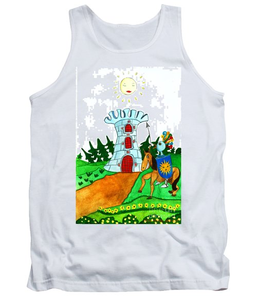 Brave Knight-errant And His Funny Wise Horse Tank Top by Don Pedro De Gracia