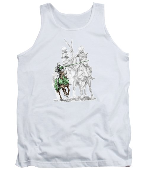 Tank Top featuring the drawing Knight Time - Renaissance Medieval Print Color Tinted by Kelli Swan