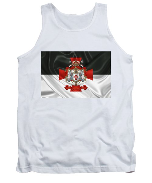 Knights Templar - Coat Of Arms Over Flag Tank Top