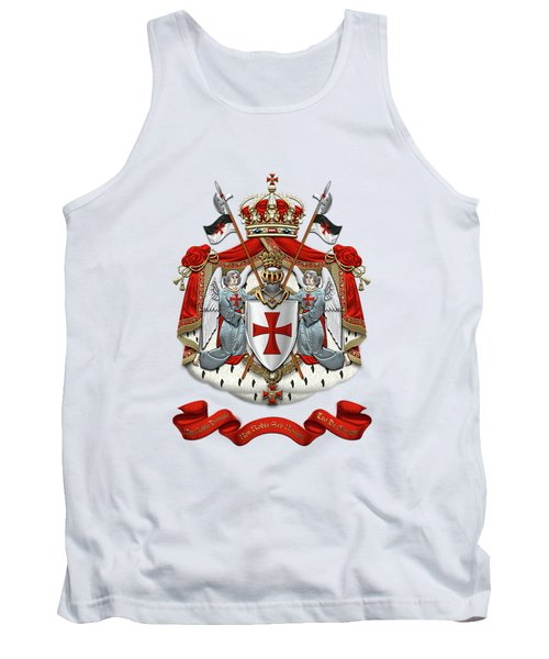 Knights Templar - Coat Of Arms Over White Leather Tank Top by Serge Averbukh