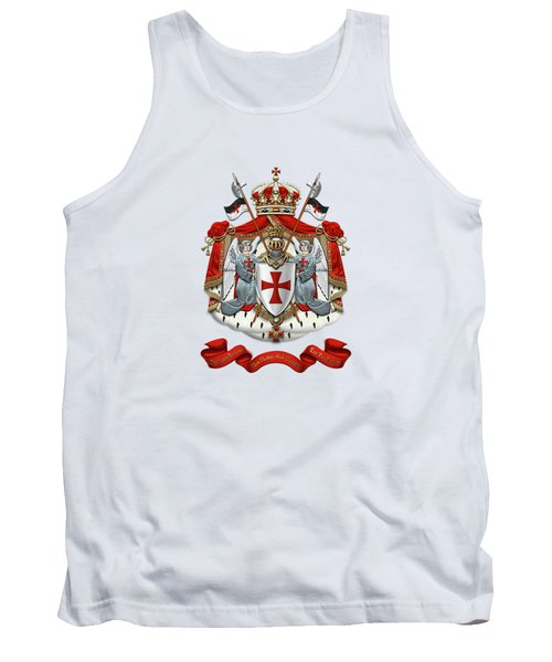 Knights Templar - Coat Of Arms Over White Leather Tank Top
