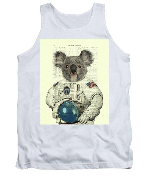 Koala In Space Illustration Tank Top