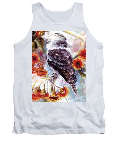 Tank Top featuring the painting Kookaburra In Red Flowering Gum by Ryn Shell