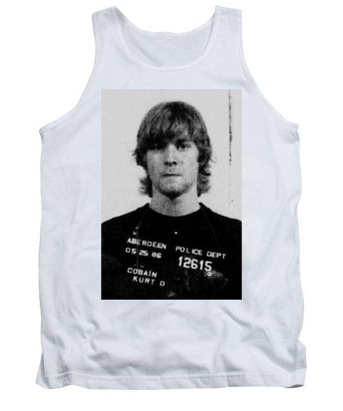 Kurt Cobain Mug Shot Vertical Black And Gray Grey Tank Top