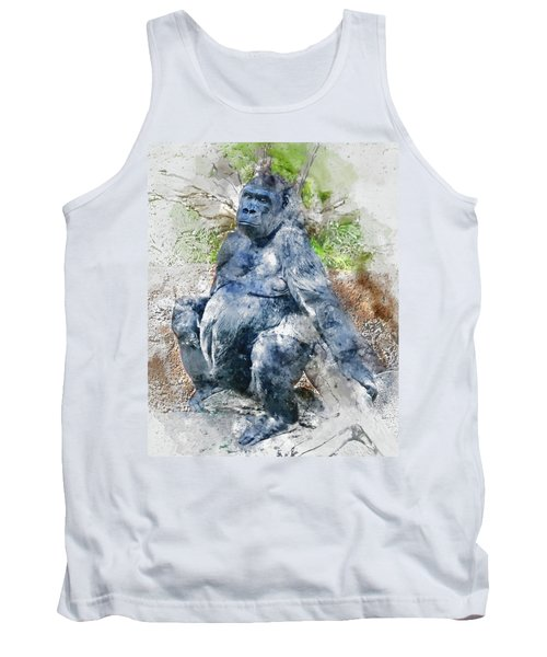 Lady Gorilla Sitting Deep In Thought Tank Top