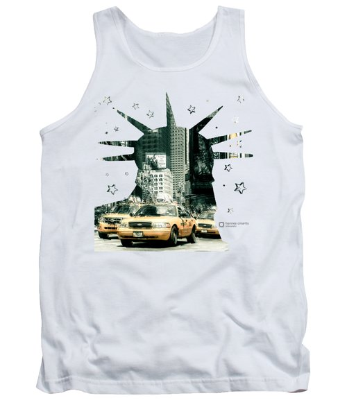 Lady Liberty And The Yellow Cabs Tank Top by Hannes Cmarits