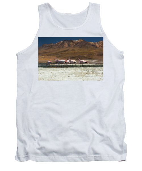 Tank Top featuring the photograph Laguna Colorada, Andes, Bolivia by Gabor Pozsgai