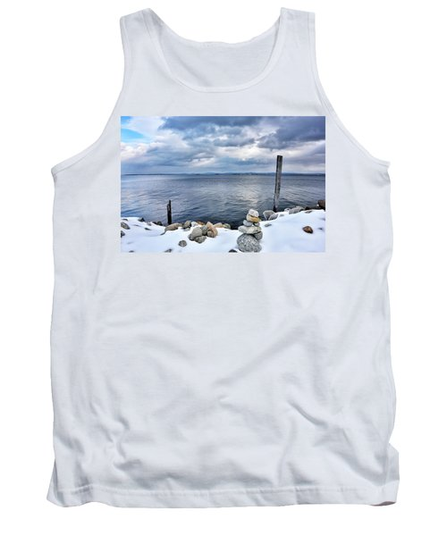 Lake Champlain During Winter Tank Top by Brendan Reals