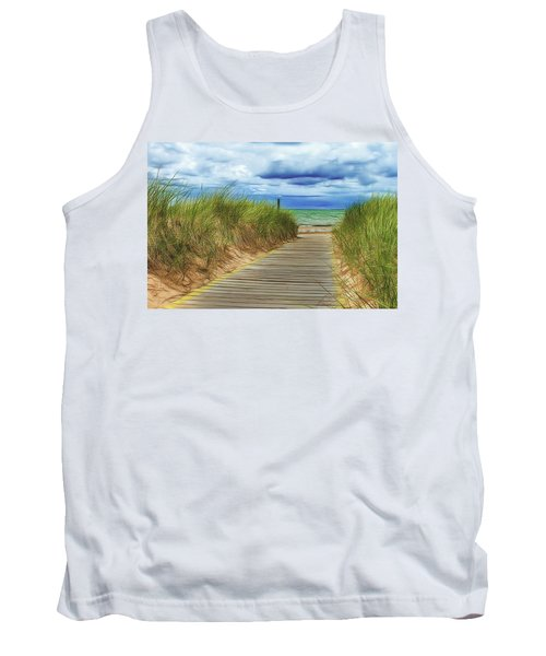 Tank Top featuring the photograph Lake Huron Boardwalk by Bill Gallagher