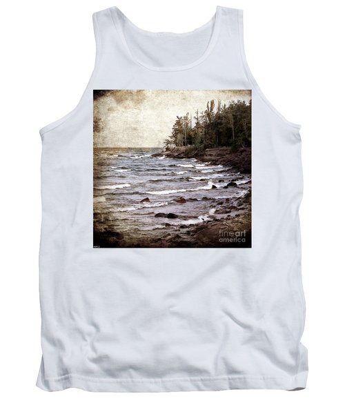 Tank Top featuring the photograph Lake Superior Waves by Phil Perkins