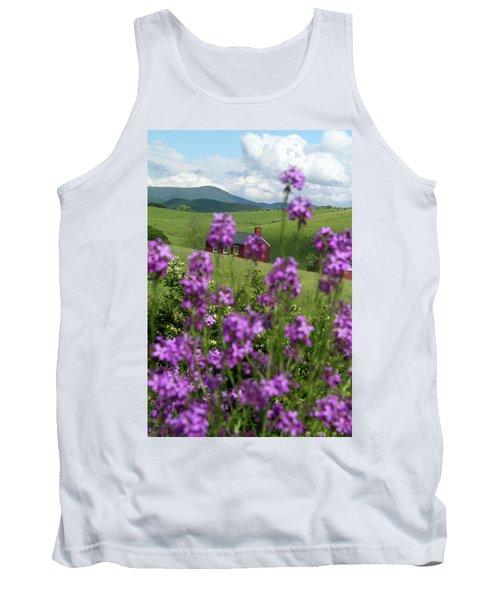 Landscape With Purple Flowers In Virginia Tank Top by Emanuel Tanjala