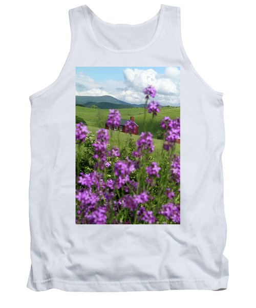 Landscape With Purple Flowers In Virginia Tank Top