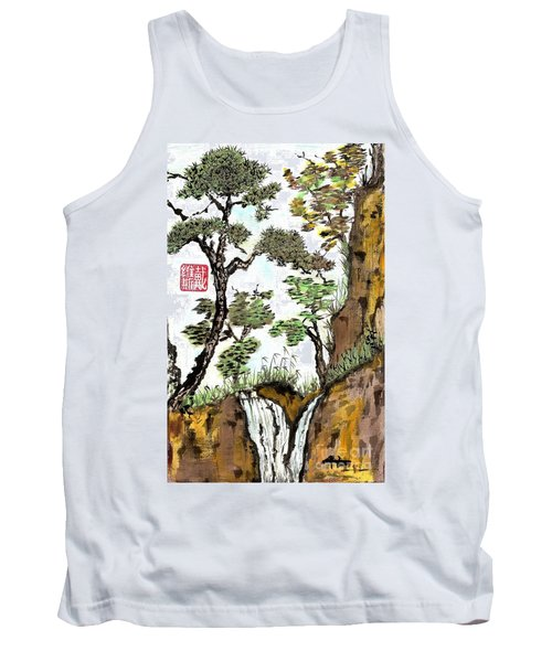 Landscape With Waterfall And Pine Tank Top
