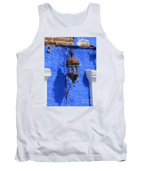 Lantern On Blue Wall Tank Top by Randall Weidner