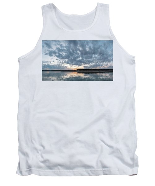 Large Panorama Of Storm Clouds Reflecting On Large Lake At Sunse Tank Top