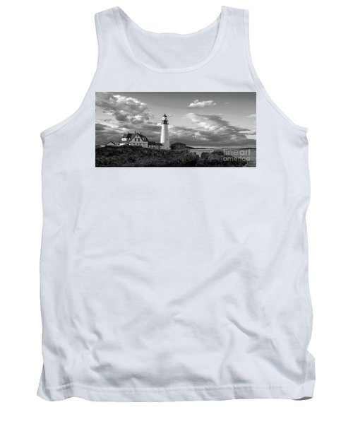 Late Afternoon Clouds, Portland Head Light  -98461 Tank Top by John Bald