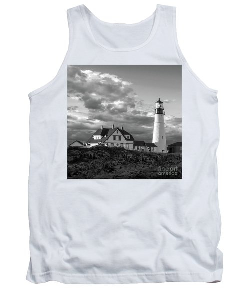 Late Afternoon Clouds, Portland Head Light  -98461-sq Tank Top by John Bald