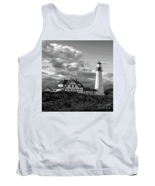 Late Afternoon Clouds, Portland Head Light  -98461-sq Tank Top