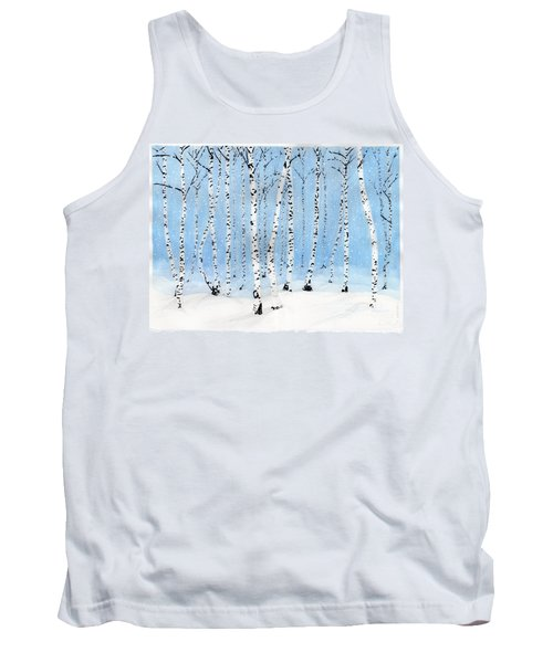 Late Afternoon Snowstorm In The Forest Tank Top