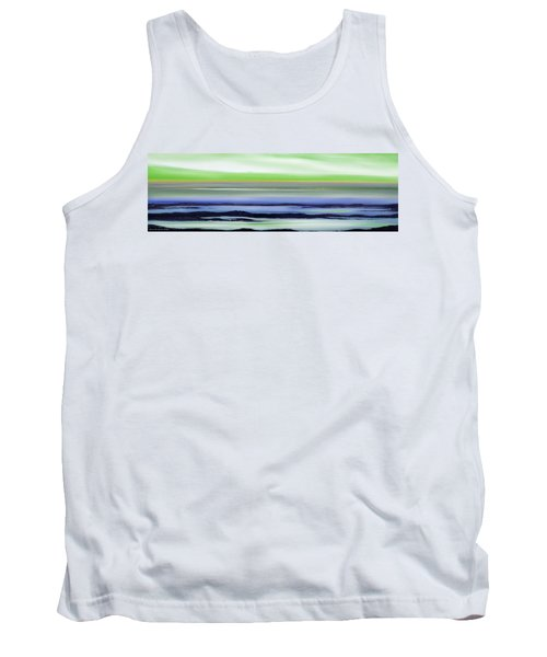 Lava Rock Panoramic Sunset In Green And Blue Tank Top