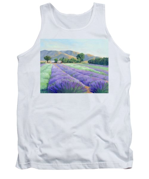 Tank Top featuring the painting Lavender Lines by Sandy Fisher